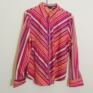 XL Gap Stretch button front long sleeve top